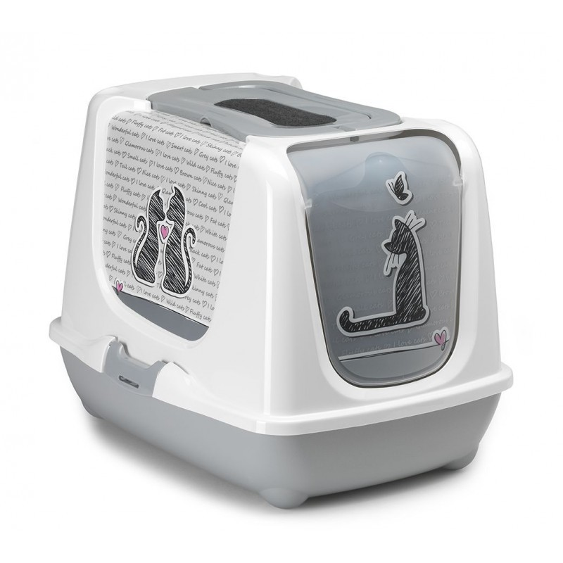 Kuwety dla kota yarro toaleta trendy z filtrem i łopatką dla kota - zakochany kot, 39,5x50x37,5cm [y3446-1072]
