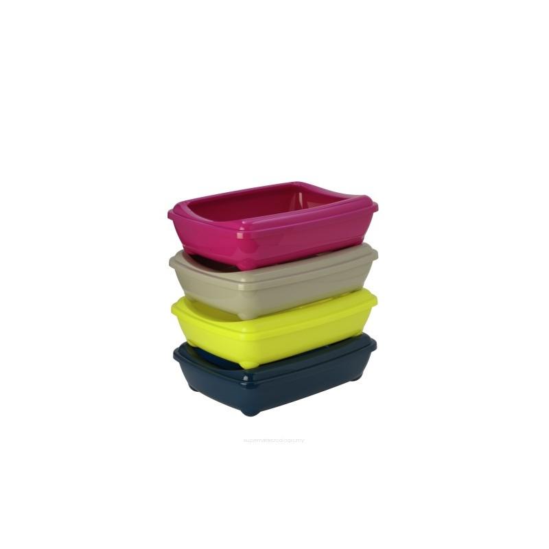Kuwety dla kota yarro kuweta duża owalna z ramką kolor classic 38x50x14cm granatowa [y3611-9221 gran]