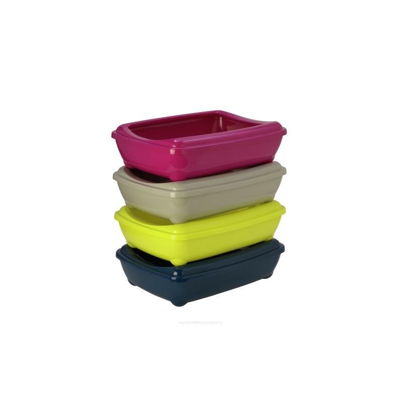 Kuwety dla kota yarro kuweta jumbo owalna z ramką kolor classic 43x57x16,3cm ciepły szary [y3619-0701 szar]