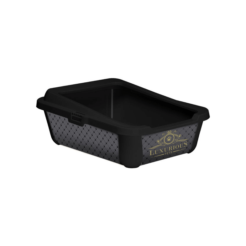 Kuwety dla kota yarro kuweta trendy duża prosta z ramką 50cm - luxurious czarna, 51x39,5x19cm [y3627-1316]